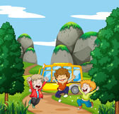 Three happy boys in the park. Illustration Stock Image