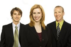 Three happy businessmen. Three business workers stand together Stock Photo