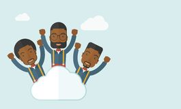 Three happy businessmen on the cloud Stock Image