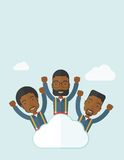 Three happy businessmen on the cloud Stock Photo