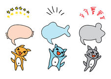 Three happy cat make message. Three happy cat make the message as fish, mice, dogs and sprockets Stock Photo