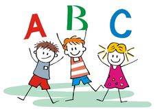 Three happy children and ABC letters, vector icon. Two boys and one girl at school. Jumping figures. Hand drawing icon. Colored picture royalty free illustration