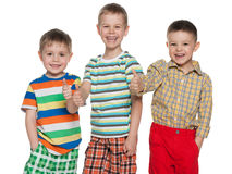 Three happy cute boys holding thumbs up. Three cheerful cute boys are standing together and holding thumbs up; on the white background Royalty Free Stock Photo