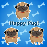 Three happy dogs on a blue background with bones stock illustration