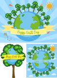 Three happy earth day poster designs. Illustration Stock Images