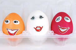 Three happy eggs Stock Photo