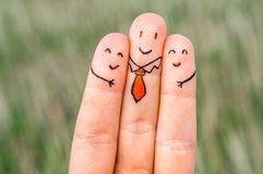 Three happy fingers. (man and woman Royalty Free Stock Image