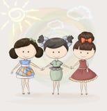 Three happy girl friends royalty free illustration