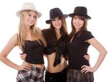 Three happy girls. Isolated on white background Royalty Free Stock Photos
