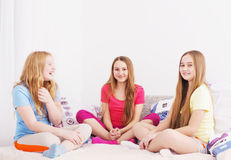 Three happy girls at home Royalty Free Stock Photography