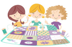 Three happy Girls Quilting/Sewing Royalty Free Stock Photo