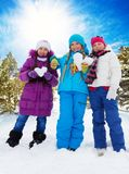 Three happy girls on valentine day. Three happy girls with heart shaped snowballs, standing together in the forest Royalty Free Stock Photography