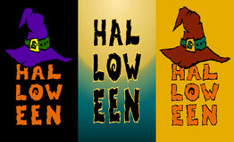 Three Happy Halloween vertical witch hat. Stock Photography