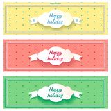 Three happy holiday sunny vector banner with cloud Stock Image