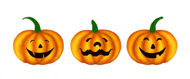 Three Happy Jack-o-Lantern Pumpkins Stock Photo