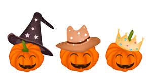 Three Happy Jack-o-Lantern Pumpkins in Halloween H Stock Image