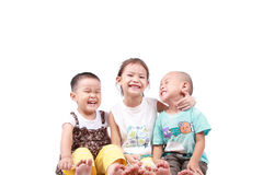 Three happy kids. With white background royalty free stock image