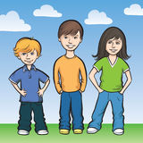 Three happy kids standing. Vector illustration of Three happy kids standing. Easy-edit layered vector EPS10 file scalable to any size without quality loss. High Stock Image
