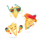 Three happy nachos characters playing Mexican music instruments Royalty Free Stock Photos