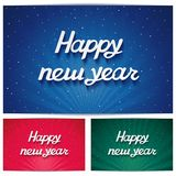 Three Happy new year background with inscription. Happy new year hand lettering on rays background with 3D volume effect and snow Royalty Free Illustration