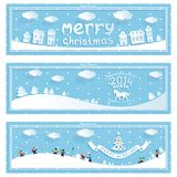 Three happy new year and christmas vector banner. Happy new year winter holiday retro vector banners with cartoons 3D on blue background. eps10 Stock Images