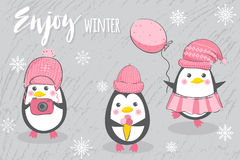 Three happy penguins. Set with three cute penguins in pink hats on a gray background. Poster or card with a cartoon character. Vector illustration Royalty Free Stock Images