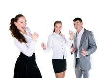 Three happy peoples stock photo