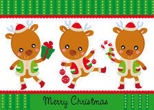 Three happy reindeers Royalty Free Stock Images