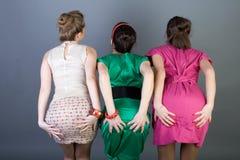 Three Happy Retro-styled Girls Royalty Free Stock Photo