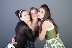 Three happy retro-styled girls Royalty Free Stock Photo