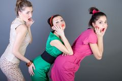 Three happy retro-styled girls Royalty Free Stock Image