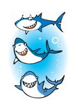 Three happy sharks Royalty Free Stock Photo