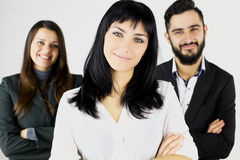 Three happy smiling business people stock photos