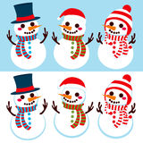 Three Happy Snowmen Stock Photos