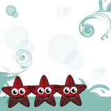 Three happy starfishes Stock Photos