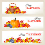 Three Happy Thanksgiving Banners. Stock Photography