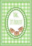 Three happy triplets. Baby arrival announcement card. Stock Photo