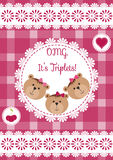 Three happy triplets. Baby arrival announcement card. Triplets baby girls shower card, cute newborn. Teddy bears, kid style greeti Royalty Free Stock Image