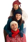 Three happy winter friends Stock Photo
