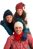Three happy winter friends Stock Image