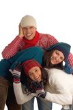 Three happy winter friends Stock Photos