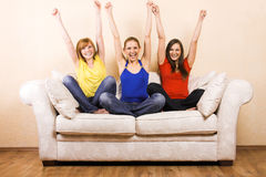 Three Happy Woman On A Lounge Royalty Free Stock Photos