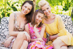 Three happy women smiling to the camera Royalty Free Stock Photo