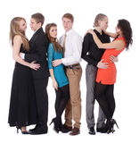 Three happy young couples in love Royalty Free Stock Image