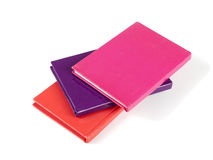 Three hard back notebooks, over white Stock Photo