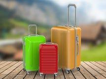 Three hard case luggages Stock Photography