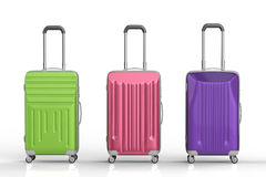 Three hard case luggages Stock Photos