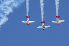 Three Harvards diving in formation Royalty Free Stock Photo