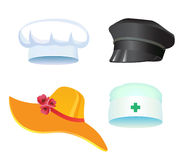 Three hats. Set of three hats,  doctor, police cooks for t holiday, march, carnival Stock Photography