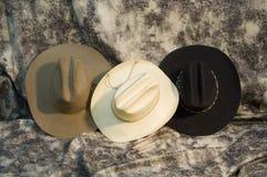 Three hats 3. Three cowboy hats. black hat, brown hat and straw hat Royalty Free Stock Photos